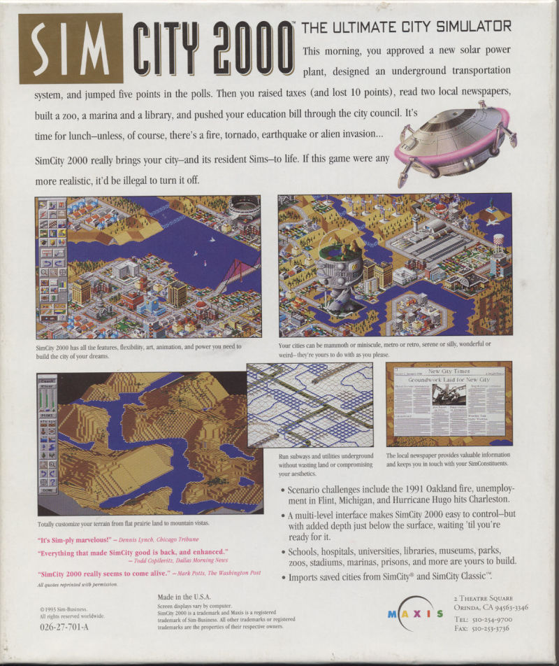 SimCity 2000 Macintosh Back Cover