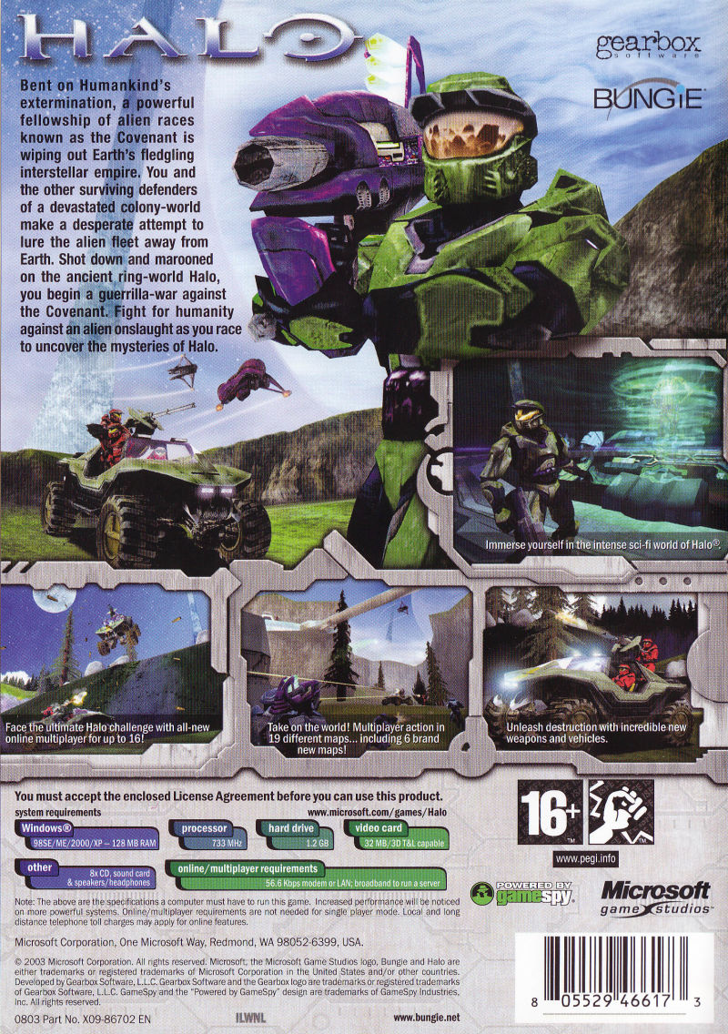 Halo: Combat Evolved Windows Back Cover