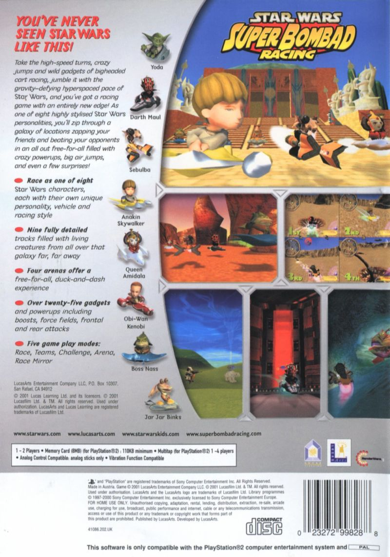 Star Wars: Super Bombad Racing PlayStation 2 Back Cover