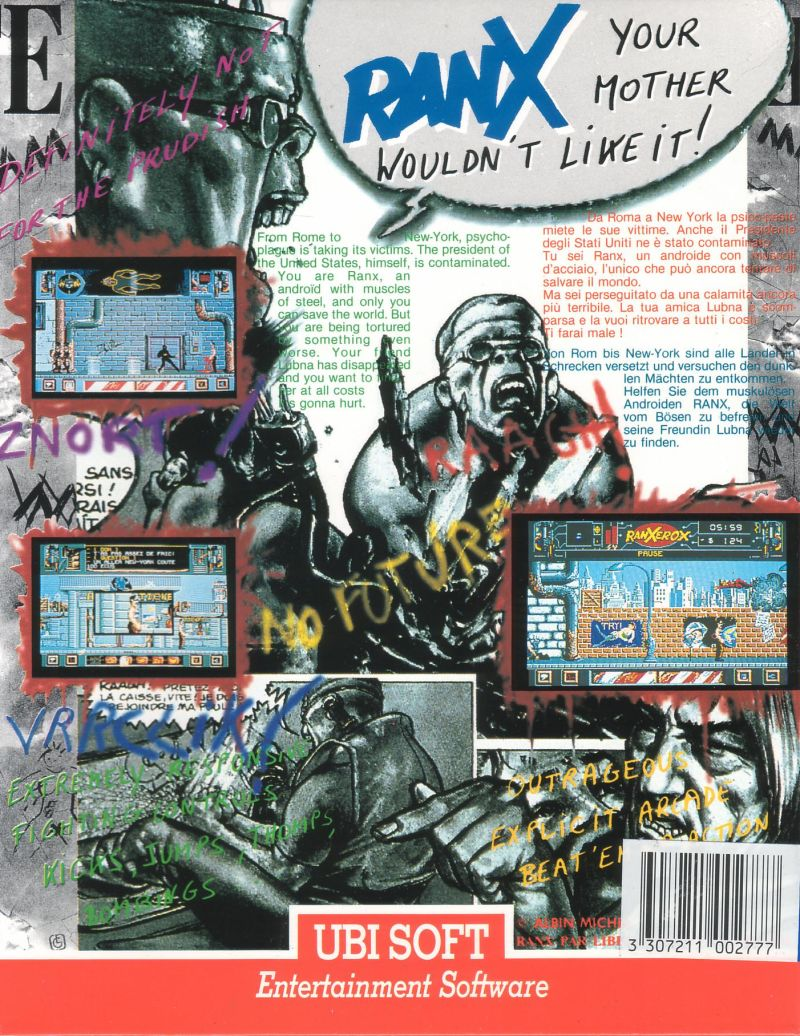 Ranx: The Video Game Atari ST Back Cover