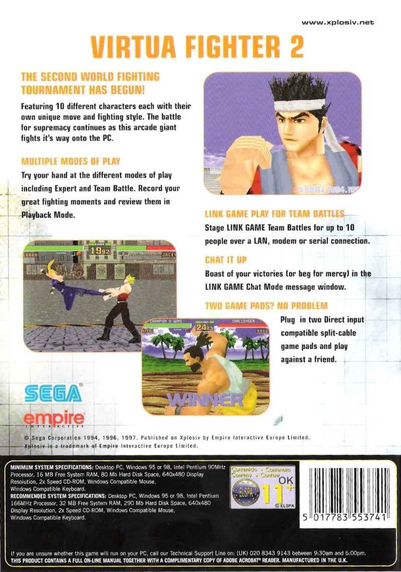 Virtua Fighter 2 Windows Back Cover