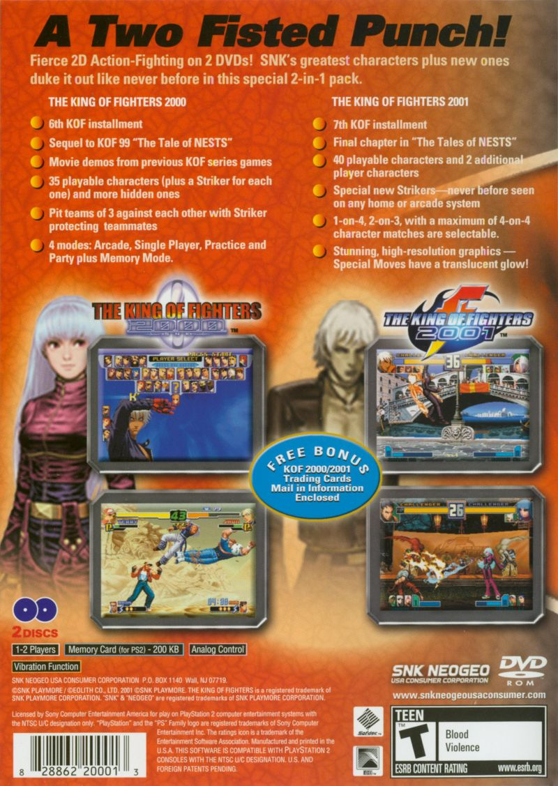 The King Of Fighters 2000 2001 2003 Playstation 2 Box Cover Art