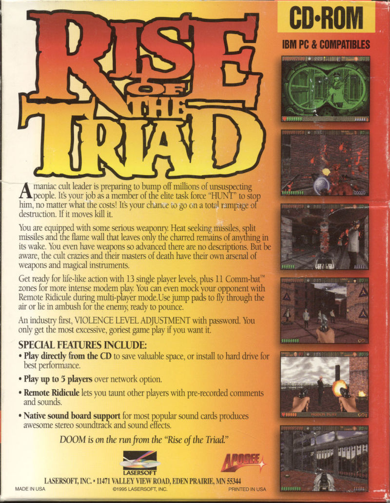 Rise of the Triad: The HUNT Begins (Deluxe Edition) DOS Back Cover