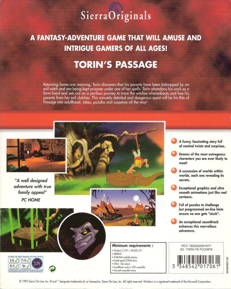 Torin's Passage DOS Back Cover
