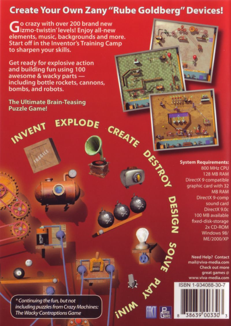 Crazy Machines 1.5: More Gizmos, Gadgets, & Whatchamacallits Windows Back Cover