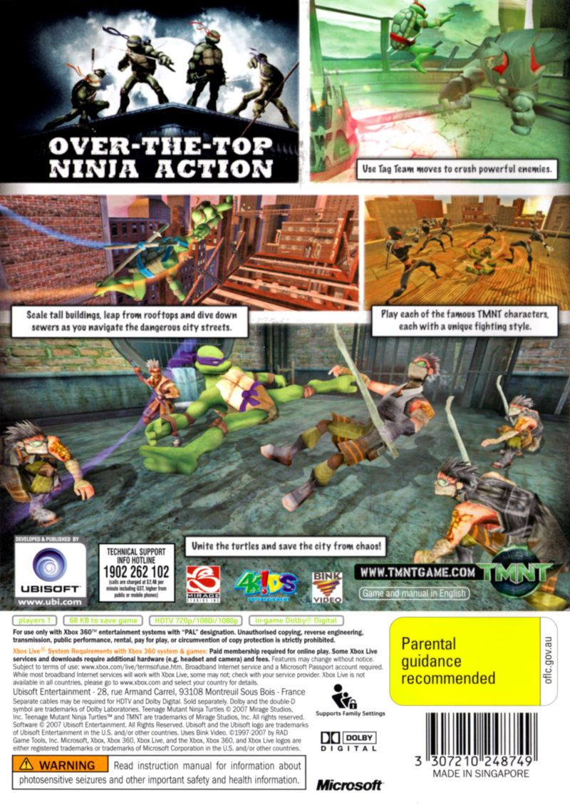 TMNT Xbox 360 Back Cover