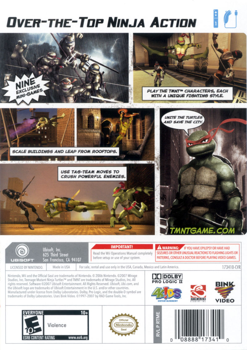 TMNT Wii Back Cover
