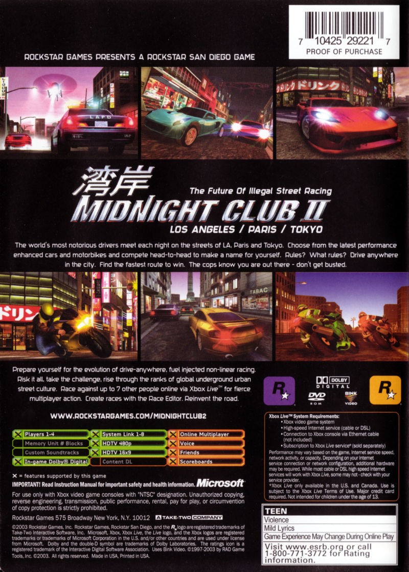 Midnight Club II Xbox Back Cover