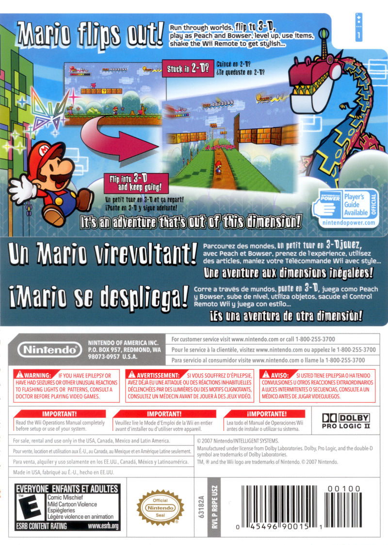 Super Paper Mario Wii Back Cover