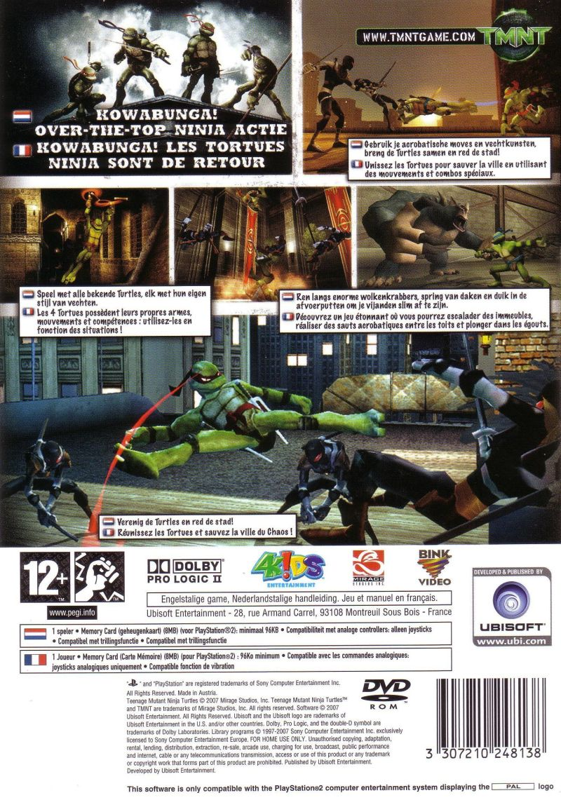 TMNT PlayStation 2 Back Cover