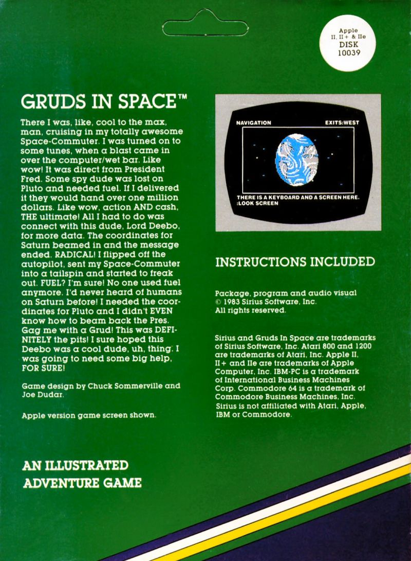 Gruds In Space Apple II Back Cover