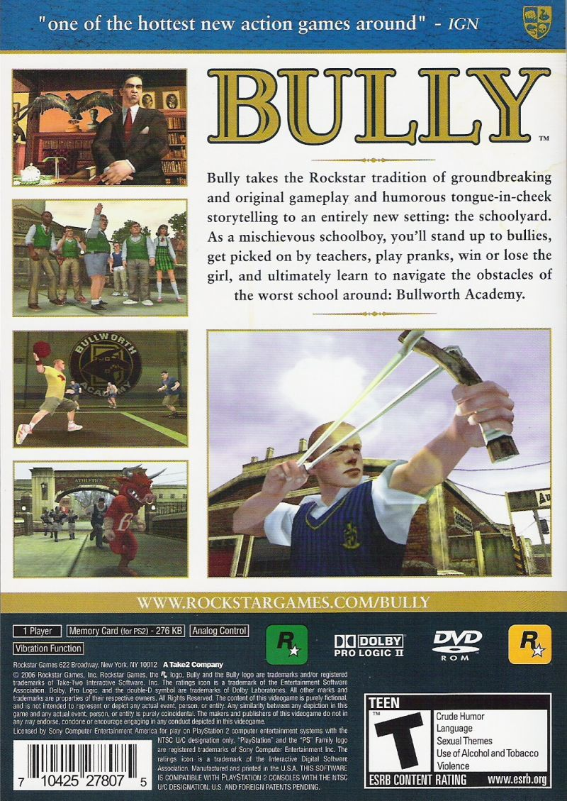 Bully PlayStation 2 Back Cover