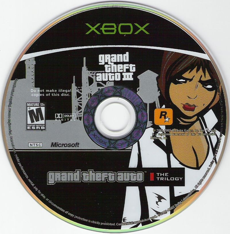Grand Theft Auto: The Trilogy Xbox Media Grand Theft Auto 3 Disc