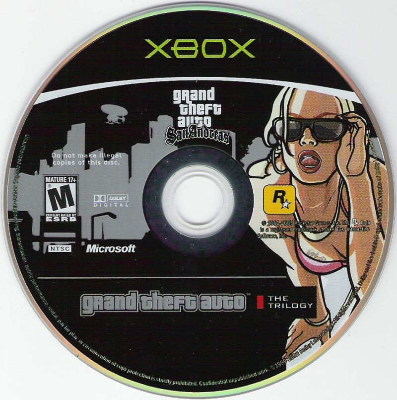Grand Theft Auto: The Trilogy Xbox Media Grand Theft Auto: San Andreas Disc