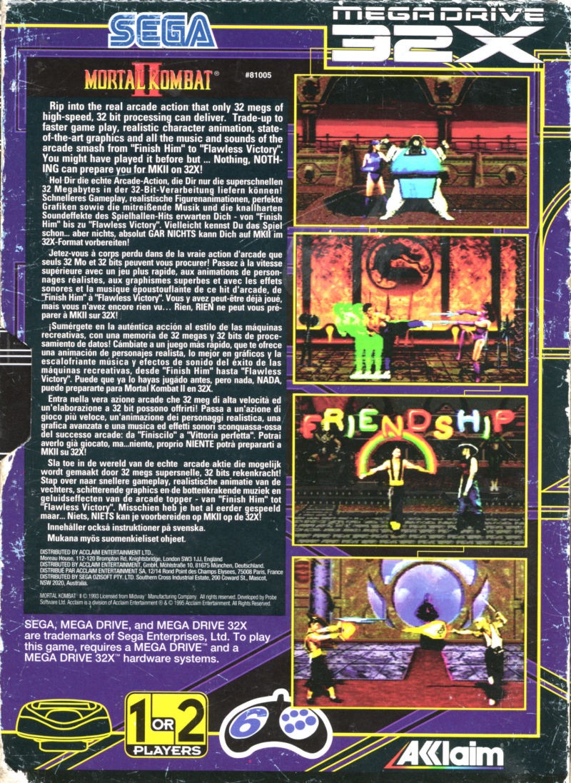 Mortal Kombat II SEGA 32X Back Cover