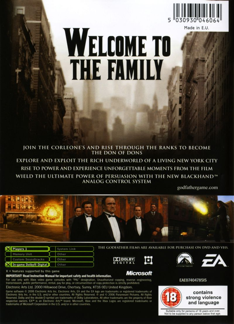 The Godfather: The Game Xbox Back Cover