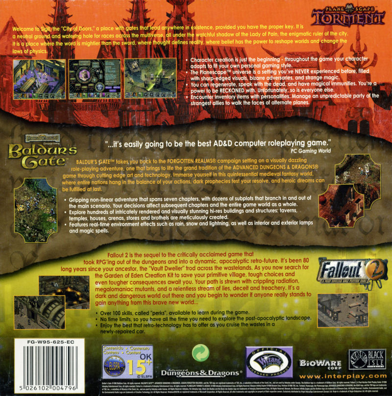 Planescape: Torment / Baldur's Gate / Fallout 2 Windows Back Cover