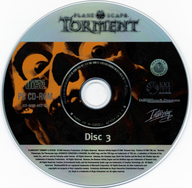 Planescape: Torment / Baldur's Gate / Fallout 2 Windows Media Planescape: Torment - Disc 3