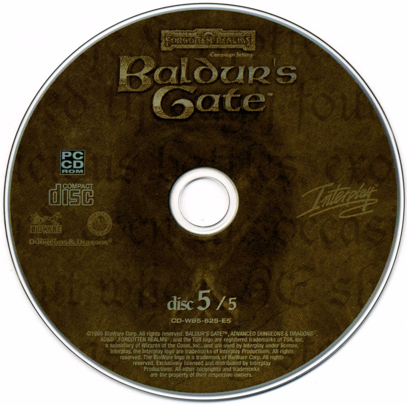 Planescape: Torment / Baldur's Gate / Fallout 2 Windows Media Baldur's Gate - Disc 5