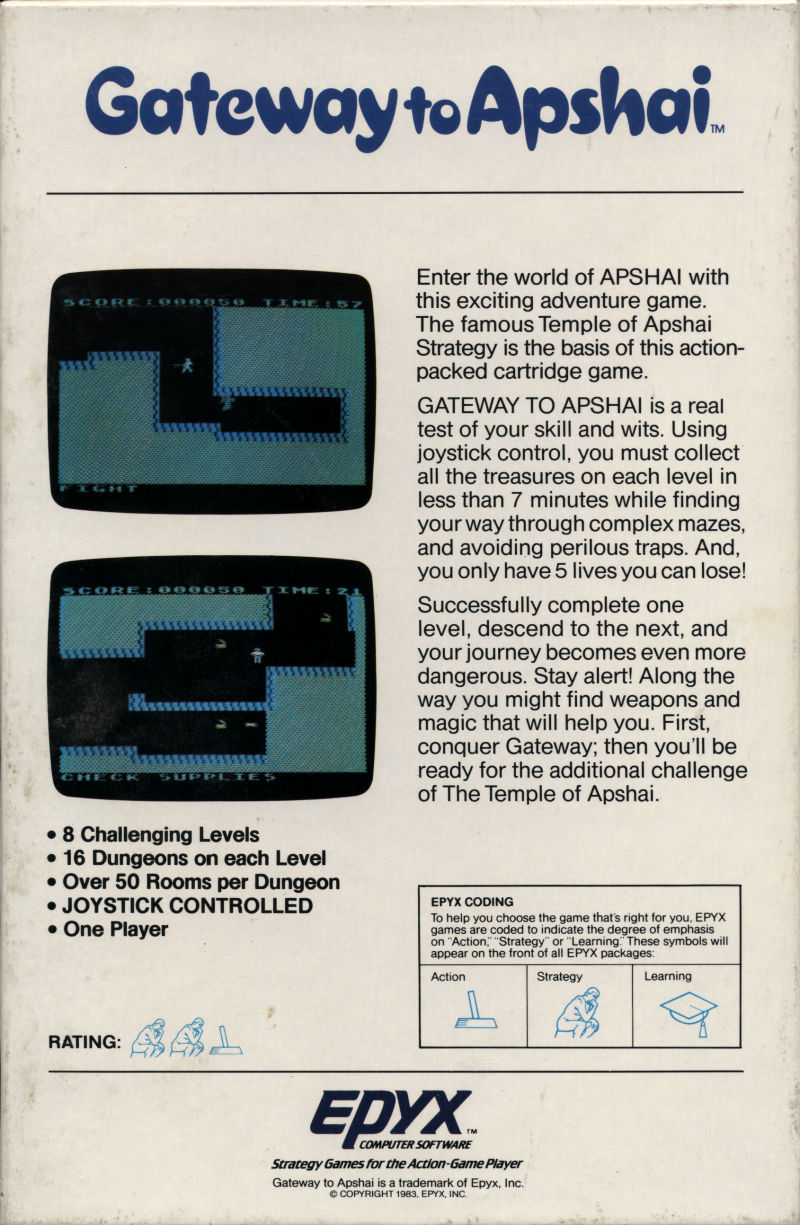 Gateway to Apshai ColecoVision Back Cover