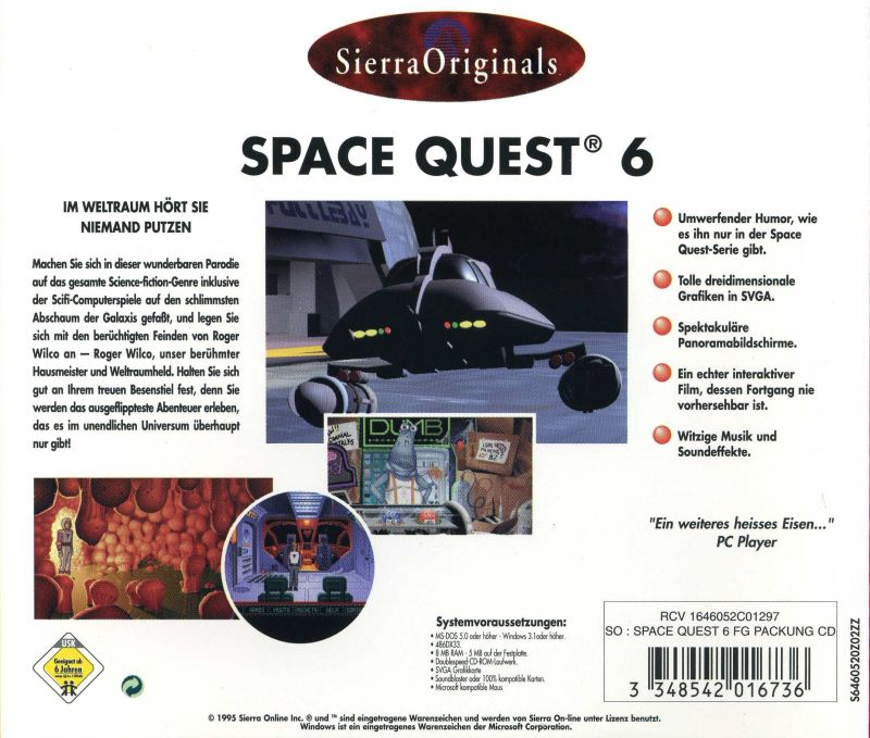 Space Quest 6: Roger Wilco in the Spinal Frontier DOS Other Jewel Case - Back