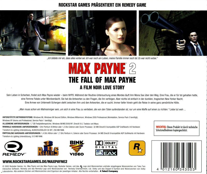 Max Payne 2: The Fall of Max Payne Windows Other Jewel Case - Back