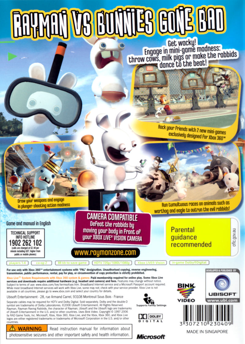 Rayman Raving Rabbids Xbox 360 Back Cover