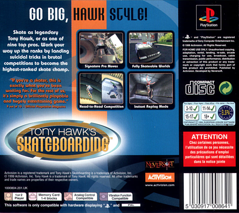 Tony Hawk's Pro Skater PlayStation Back Cover