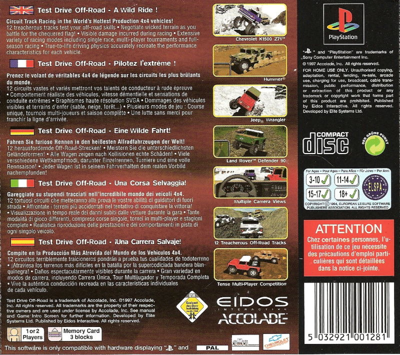 Test Drive: Off-Road PlayStation Back Cover