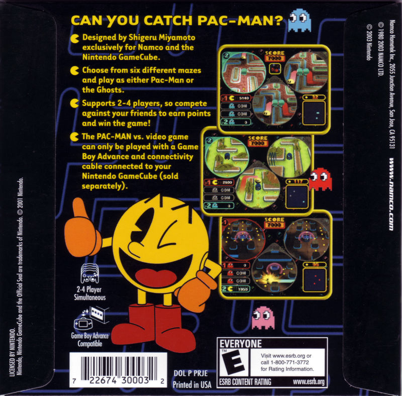 Pac-Man Vs. GameCube Back Cover