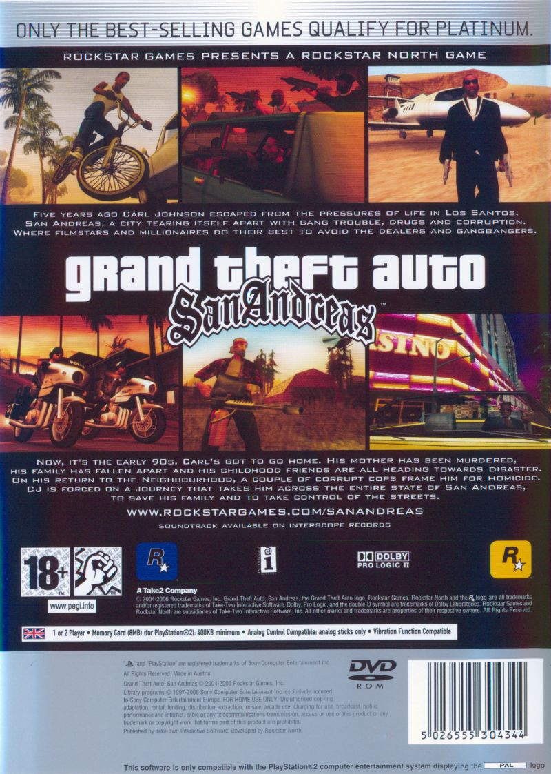 Grand Theft Auto: San Andreas PlayStation 2 Back Cover