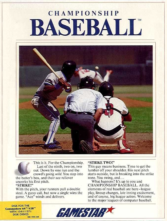 Championship Baseball Commodore 64 Front Cover