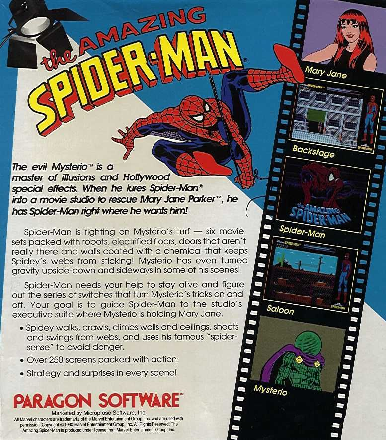 The Amazing Spider-Man Amiga Back Cover