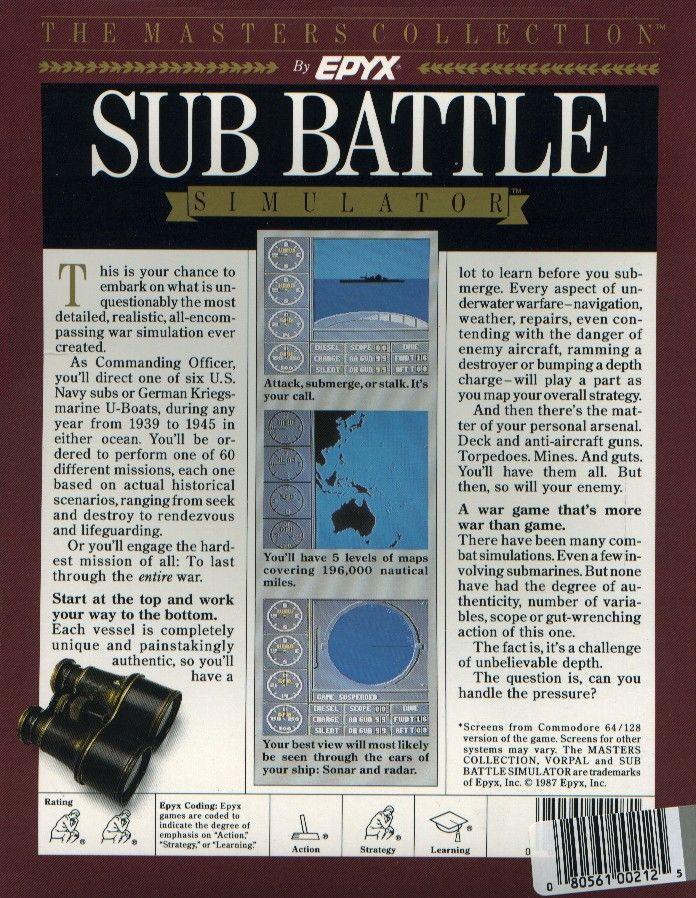 Sub Battle Simulator Atari ST Back Cover