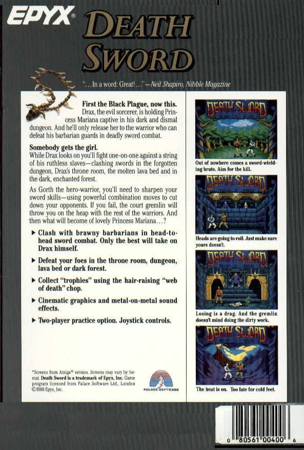 Death Sword Atari ST Back Cover