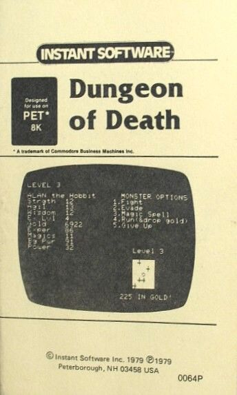 Dungeon of Death Commodore PET/CBM Front Cover