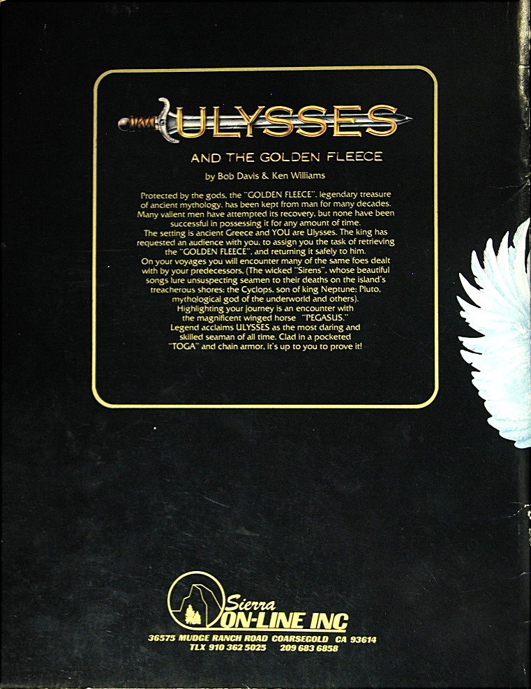 Hi-Res Adventure #4: Ulysses and the Golden Fleece Atari 8-bit Back Cover