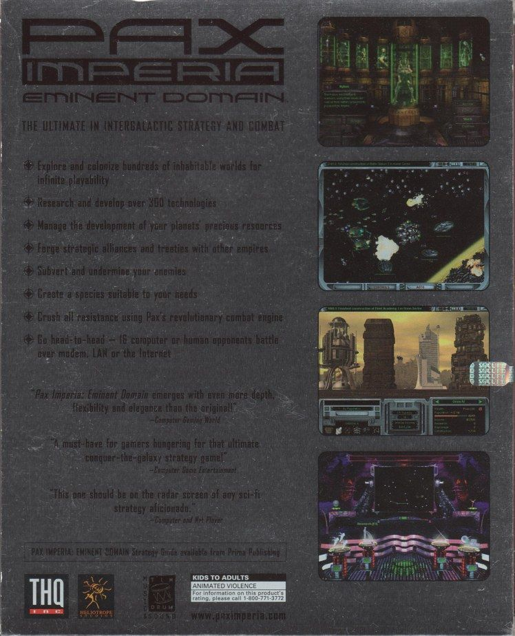 Pax Imperia: Eminent Domain Windows Back Cover