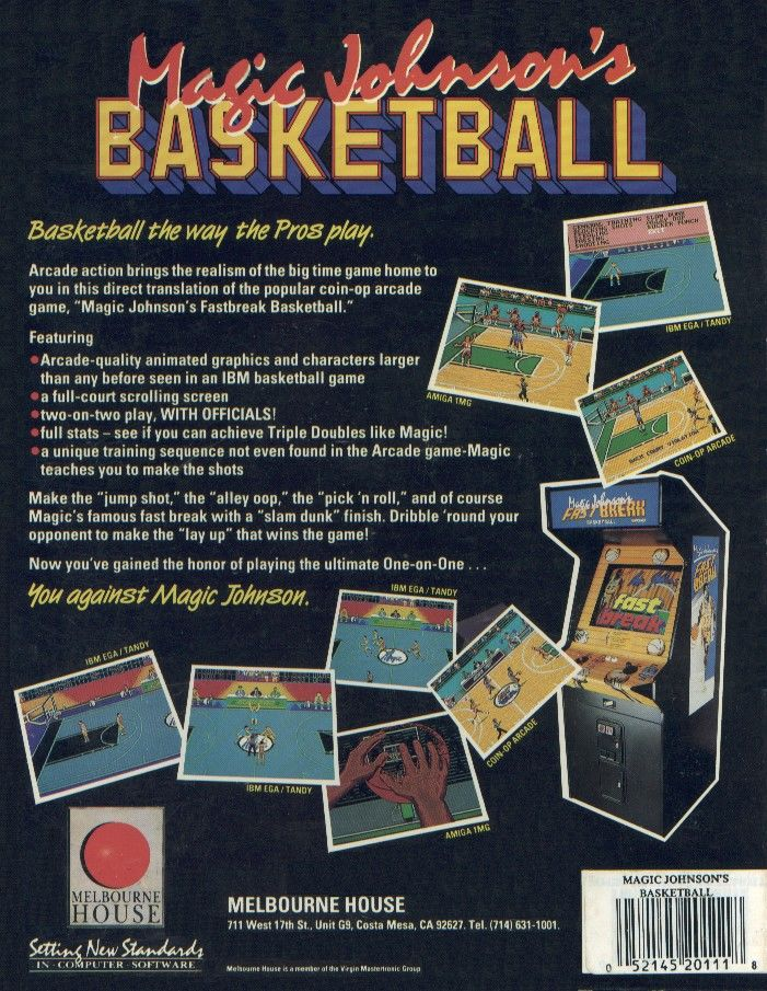 Magic Johnson's Fast Break Commodore 64 Back Cover