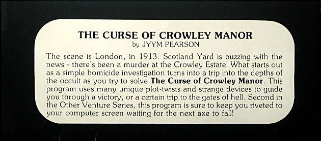 The Curse of Crowley Manor TRS-80 Back Cover