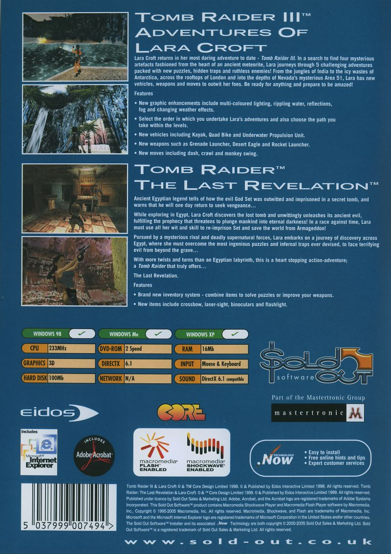 Tomb Raider III: Adventures of Lara Croft / Tomb Raider: The Last Revelation Windows Back Cover