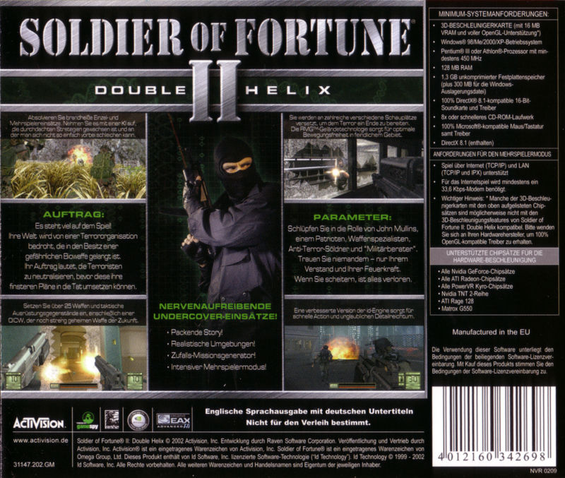 Soldier of Fortune II: Double Helix Windows Other Jewel Case - Back