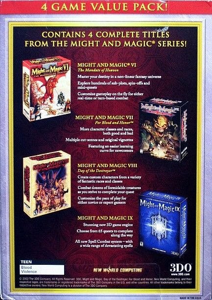 Might and Magic: Platinum Edition Windows Back Cover