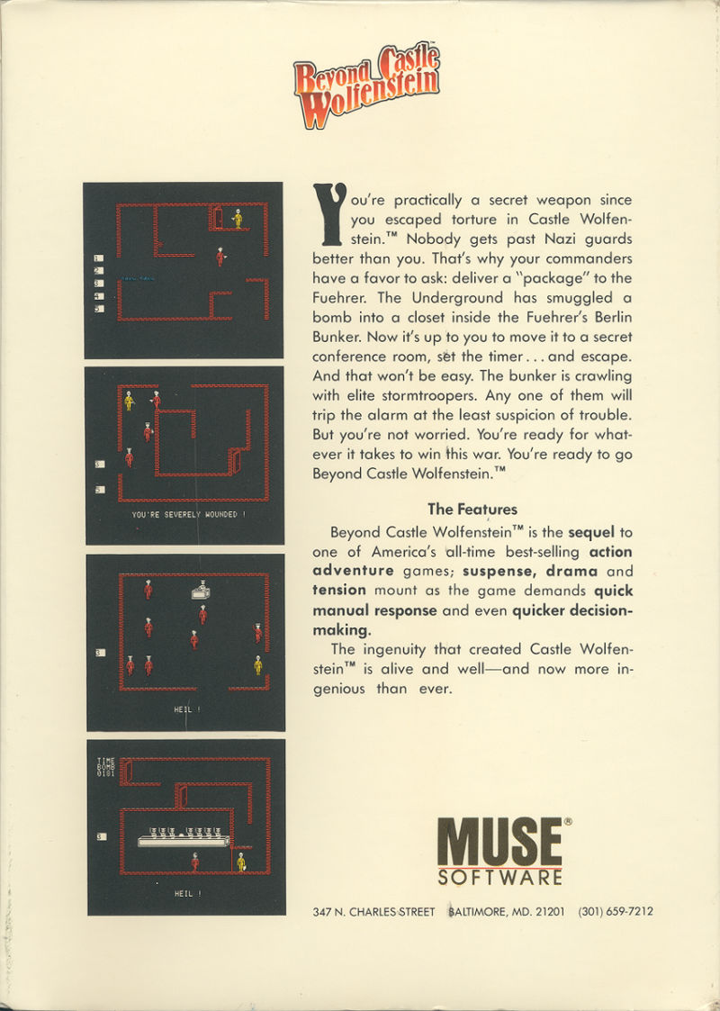 Beyond Castle Wolfenstein Apple II Back Cover