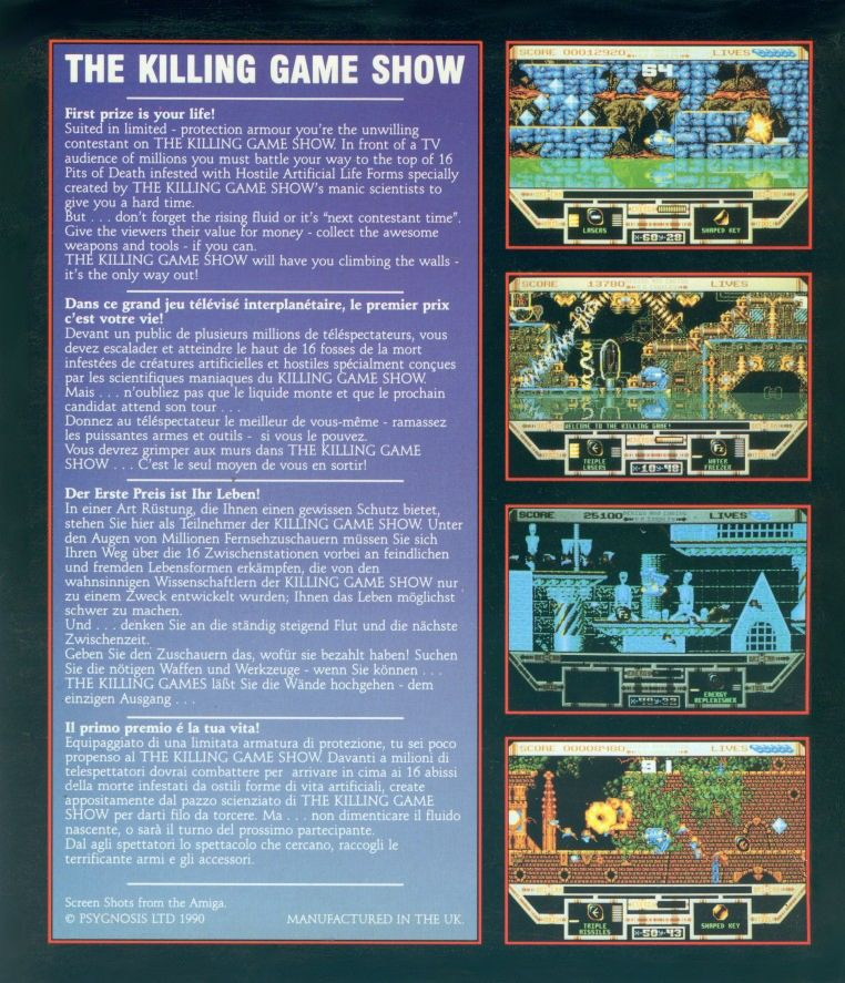 The Killing Game Show Amiga Back Cover