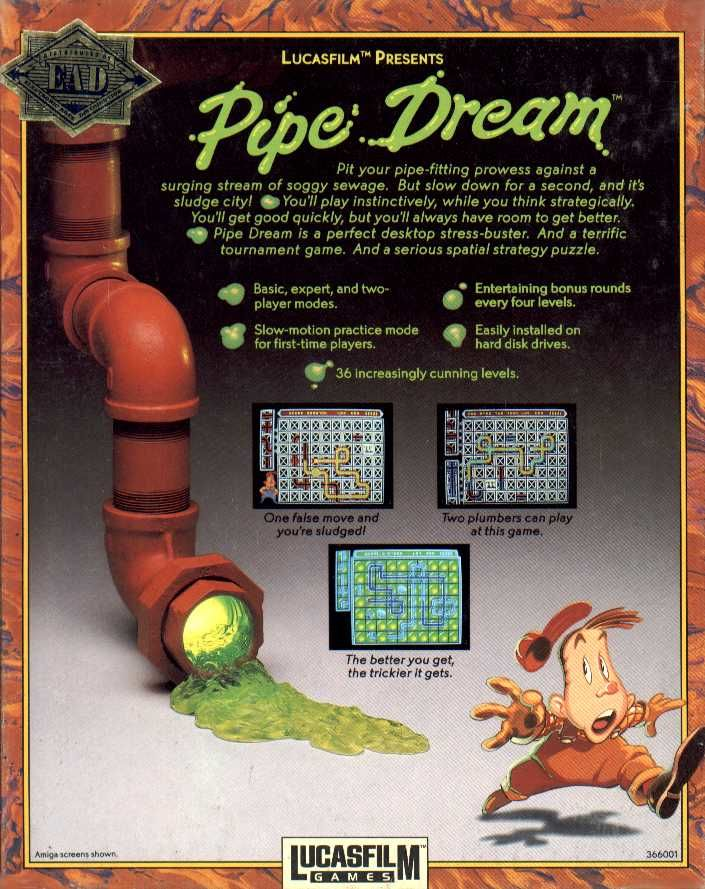 Pipe Dream Commodore 64 Back Cover