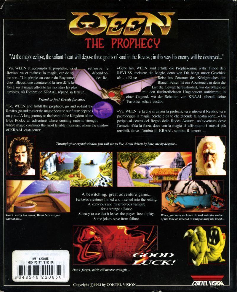 The Prophecy DOS Back Cover