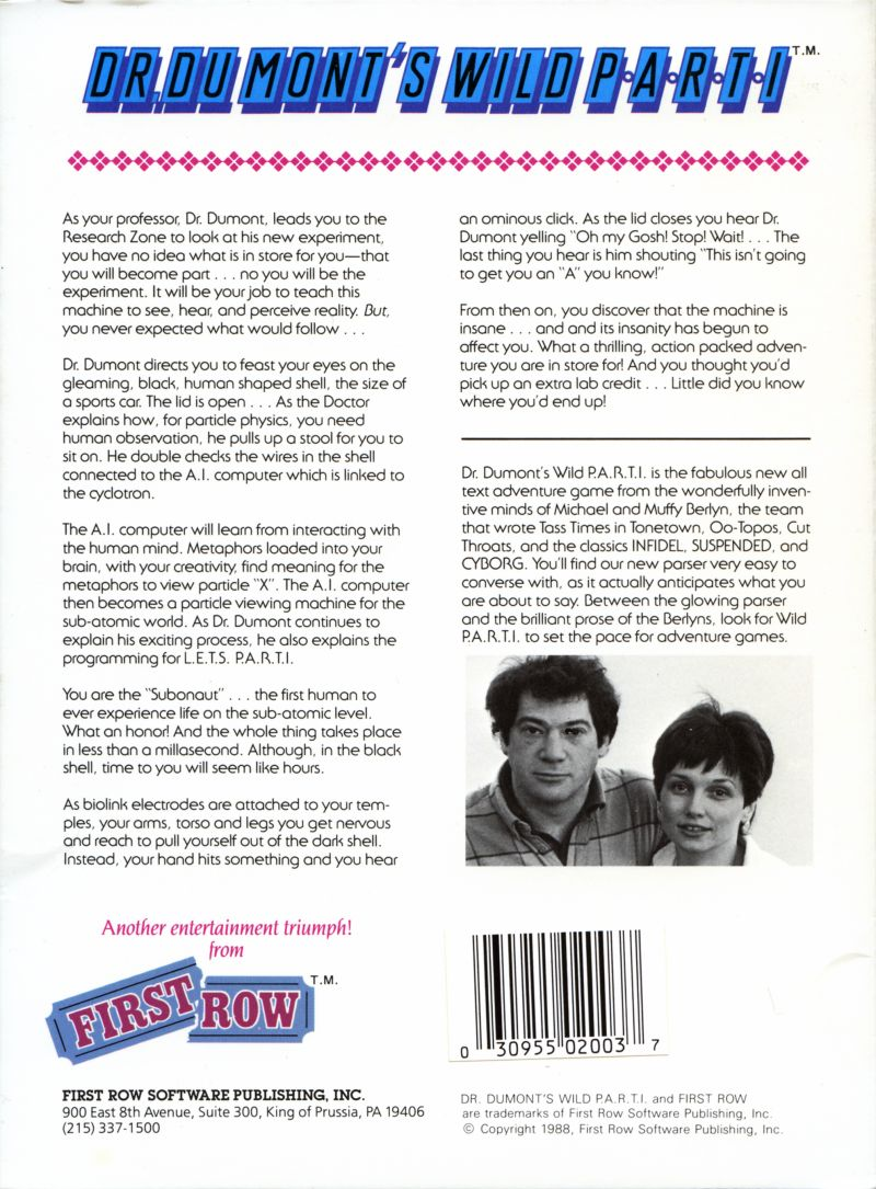 Dr. Dumont's Wild P.A.R.T.I. DOS Back Cover