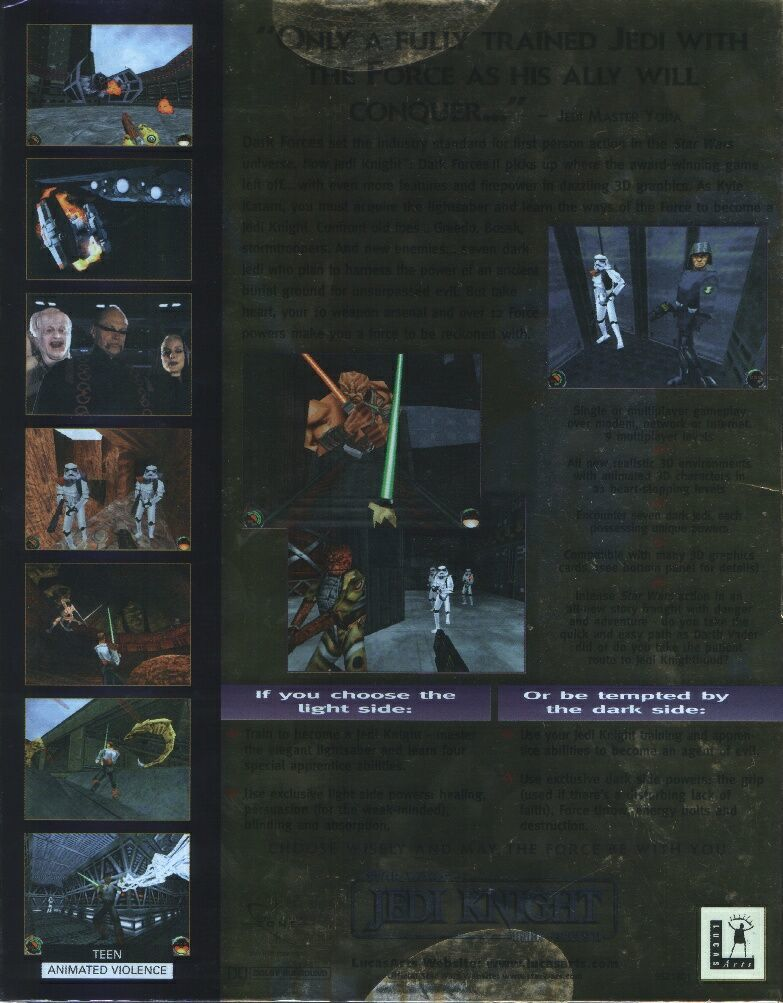 Star Wars: Jedi Knight - Dark Forces II Windows Back Cover