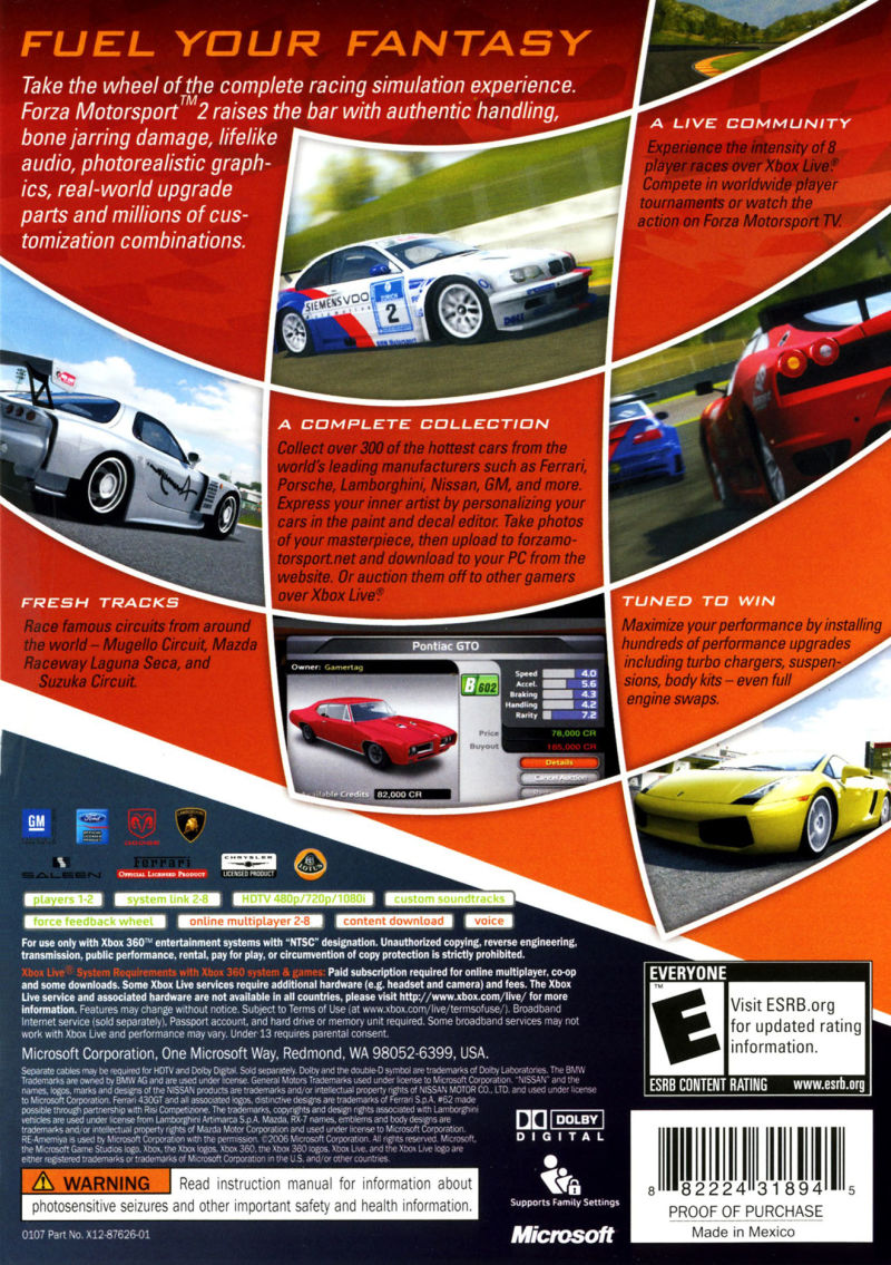 Forza Motorsport 2 Xbox 360 Back Cover